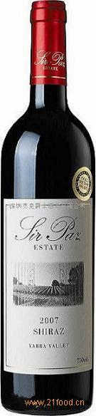 澳洲葡萄酒2007年帕斯爵士西拉干红