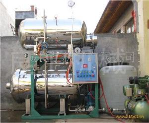 牛肉干专用半自动双层热水喷淋式电汽两用杀菌锅