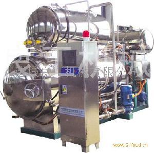 半自动型双层热水喷淋式电汽两用杀菌锅