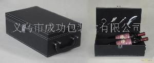 双支黑色针纹PVC皮红酒包装
