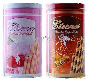 印尼进口食品意特浓Eterna草莓味/巧克力味脆卷饼干