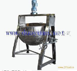 蒸气夹层锅(不锈钢架高带搅拌)